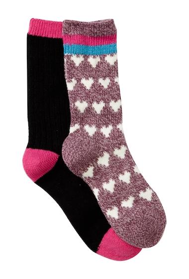 Accesorii Femei Free Press Cozy Super Soft Crew Socks - Pack of 2 BURGUNDY URBAN HEART