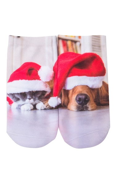 Accesorii Femei Free Press No Show Sublimation Low-Cut Socks SLEEPY DOG AND CAT