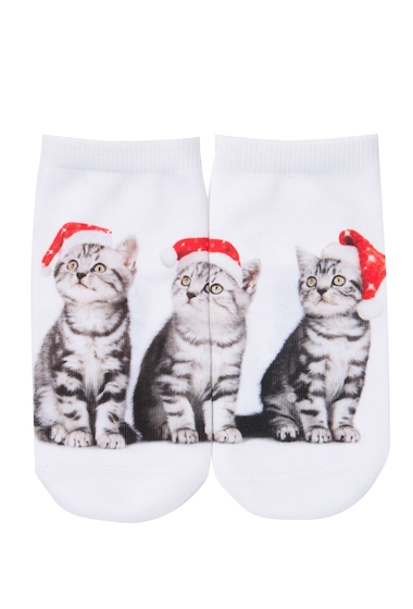 Accesorii Femei Free Press No Show Sublimation Low-Cut Socks SANTA HAT KITTY TRIO