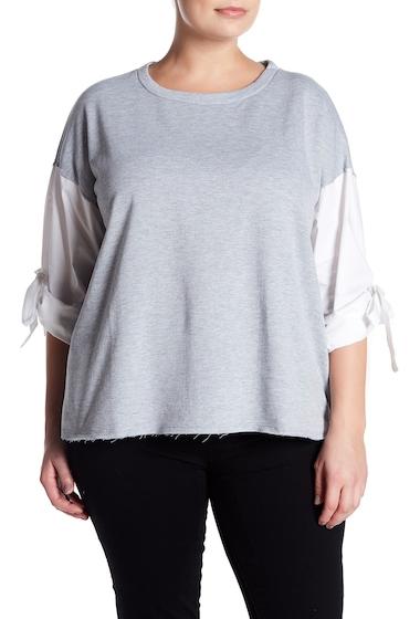Imbracaminte Femei GOOD LUCK GEM Poplin Tie Sleeve Fleece Sweatshirt Plus Size HEATHER GREY