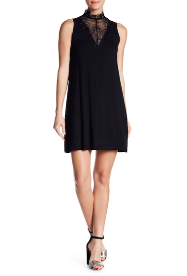Imbracaminte Femei GOOD LUCK GEM Mock Neck Lace Swing Dress BLACK