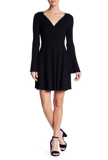 Imbracaminte Femei GOOD LUCK GEM Bell Sleeve Surplice Neck Dress BLACK