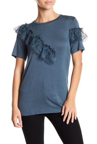 Imbracaminte Femei HIP Lace Detail Short Sleeve Tee BLUE