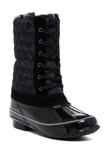 Incaltaminte Femei Khombu Cardinal Faux Fur Trim Boot BLACK