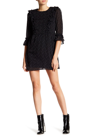 Imbracaminte Femei Lea Viola Bell Sleeve Polka Dot Dress BLACK