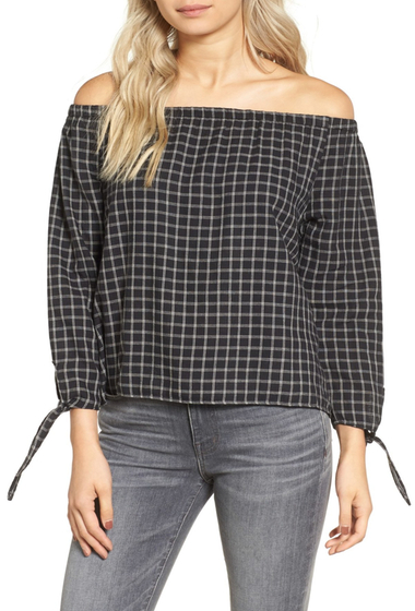 Imbracaminte Femei Madewell Plaid Off the Shoulder Top CLASSIC BLACK