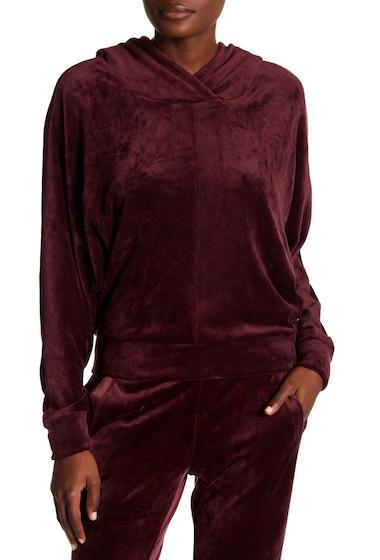 Imbracaminte Femei Marc New York Velvet Dolman Sleeve Boxy Hoodie BURGUNDY