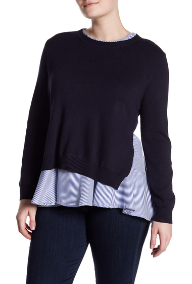 Imbracaminte Femei MELLODAY Knit Sweater Striped Woven Pullover Plus Size NAVY