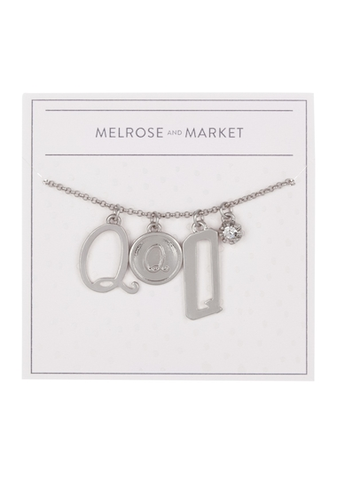Bijuterii Femei Melrose and Market Initial Charm Pendant Necklace Q-RHODIUM