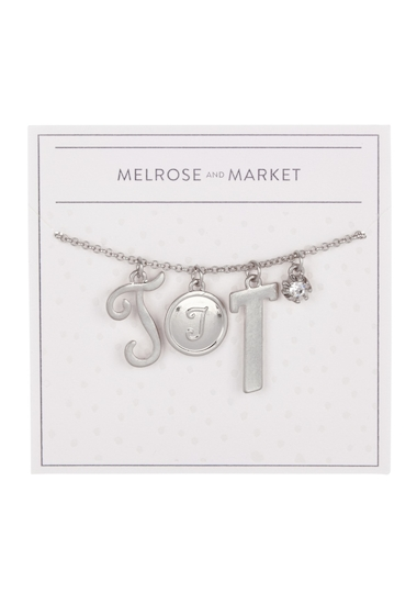 Bijuterii Femei Melrose and Market Initial Charm Pendant Necklace T-RHODIUM