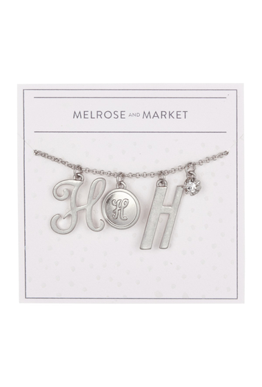 Bijuterii Femei Melrose and Market Initial Charm Pendant Necklace H-RHODIUM