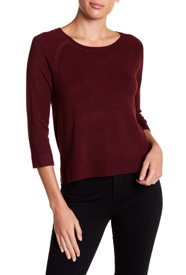 Imbracaminte Femei Philosophy Apparel 34 Length Sleeve Pointelle Knit Sweater RED WINE H