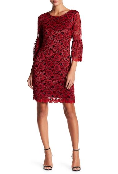 Imbracaminte Femei Robbie Bee Lace Ruffle Long Sleeve Dress BLACK RED