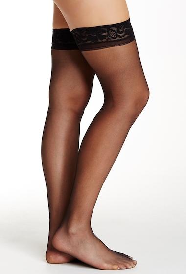 Accesorii Femei shimera Lace Top Thigh High Sheer Pantyhose JET BLACK