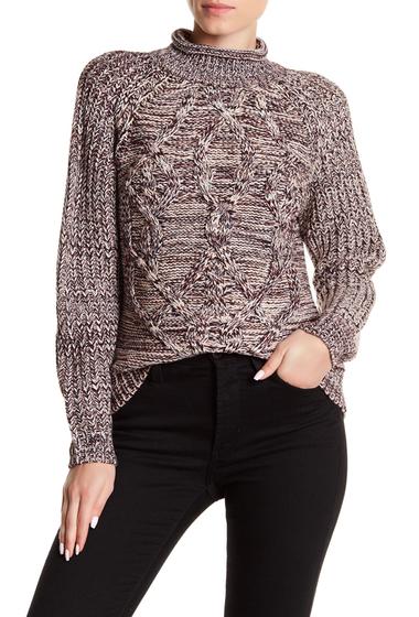Imbracaminte Femei SUSINA Cabled Tonal Sweater BURGUNDY STEM MEGA CABLE