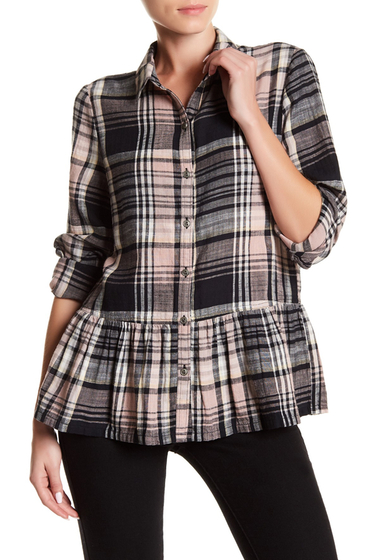 Imbracaminte Femei SUSINA Plaid Button Down Ruffle Shirt Regular Petite BLACK ENDLESS TARTAN