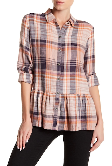 Imbracaminte Femei SUSINA Plaid Button Down Ruffle Shirt Regular Petite PINK ADOBE ENDLESS TARTAN