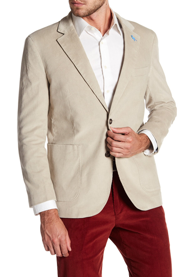 Imbracaminte Barbati TailorByrd White Ribbed Corduroy Two Button Modern Fit Sport Coat LT PUTTY