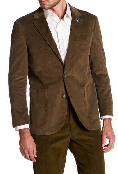 Imbracaminte Barbati TailorByrd Green Ribbed Corduroy Two Button Modern Fit Sport Coat EARTH