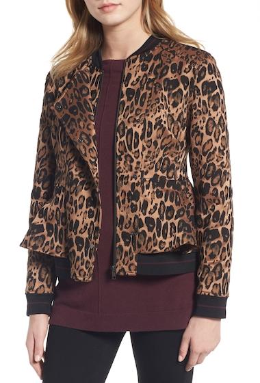 Imbracaminte Femei Trouve Leopard Print Peplum Jacket TAN COGNAC LEOPARD JACQUARD