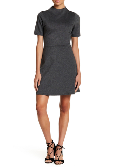 Imbracaminte Femei Vanity Room Short Sleeve Ponte Fit Flare Dress CHARCOAL