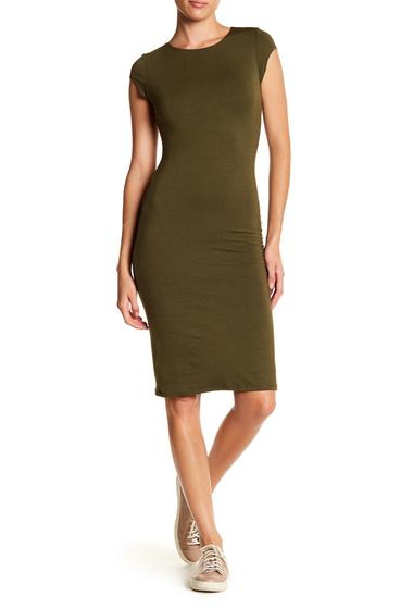 Imbracaminte Femei Velvet Torch Cap Sleeve Midi Dress OLIVE