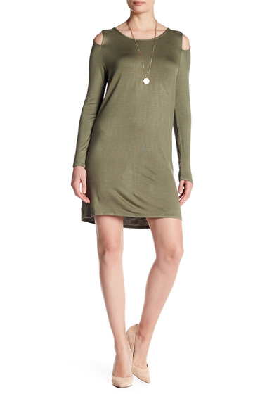 Imbracaminte Femei Vanity Room Cold Shoulder Knit Dress OLIVE