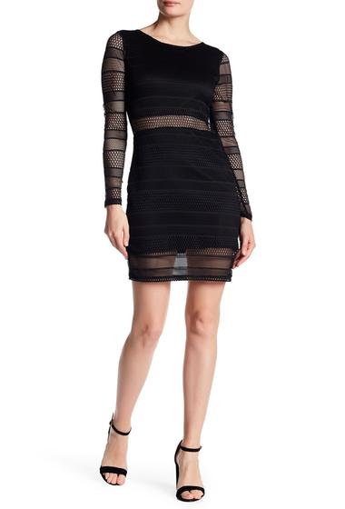 Imbracaminte Femei Vanity Room Long Sleeve Knit Mesh Stripe Dress BLACK