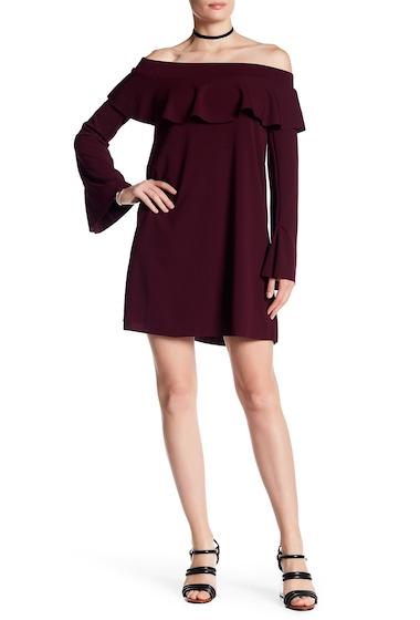 Imbracaminte Femei Vanity Room Off-the-Shoulder Bell Sleeve Ruffle Dress BORDEAUX