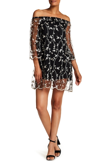 Imbracaminte Femei WEST KEI Off-the-Shoulder Mesh Embroidered Dress BLACK