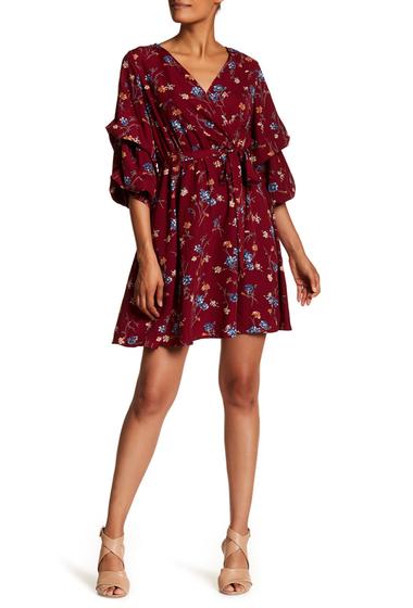 Imbracaminte Femei WEST KEI Woven Floral Print Front Wrap Dress WINE FLRL
