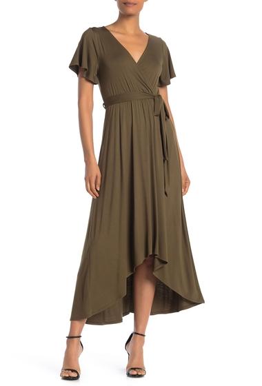 Imbracaminte Femei WEST KEI Flutter Sleeve HighLow Wrap Dress OLIVE