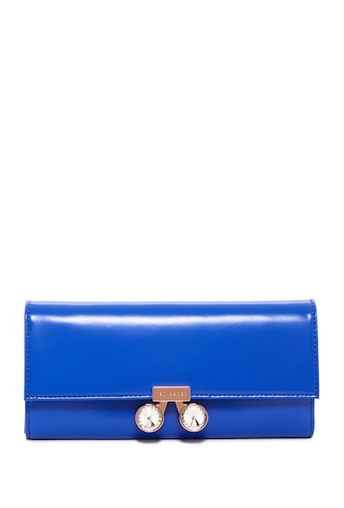 Genti Femei Ted Baker London Eleni Crystal Bobble Lock Leather Matinee Wallet MID BLUE