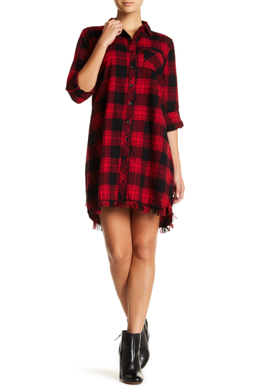 Imbracaminte Femei BeachLunchLounge Plaid Frayed Hem Shirtdress F4106-RED