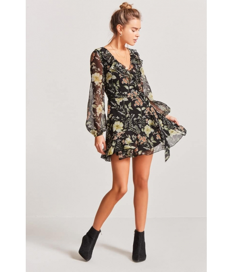 Imbracaminte Femei Forever21 Floral Wrap Dress BLACKGREEN