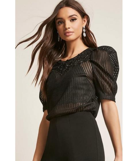 Imbracaminte Femei Forever21 Crochet Puff Sleeve Top BLACK