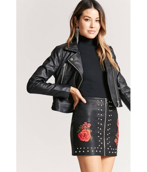 Imbracaminte Femei Forever21 Faux Leather Floral Studded Mini Skirt BLACKROSE