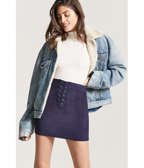 Imbracaminte Femei Forever21 Faux Suede Lace-Up Skirt NAVY