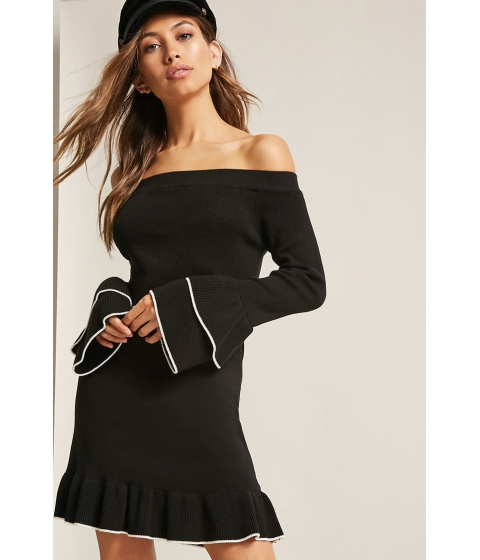 Imbracaminte Femei Forever21 Ribbed Off-the-Shoulder Sweater Dress BLACK