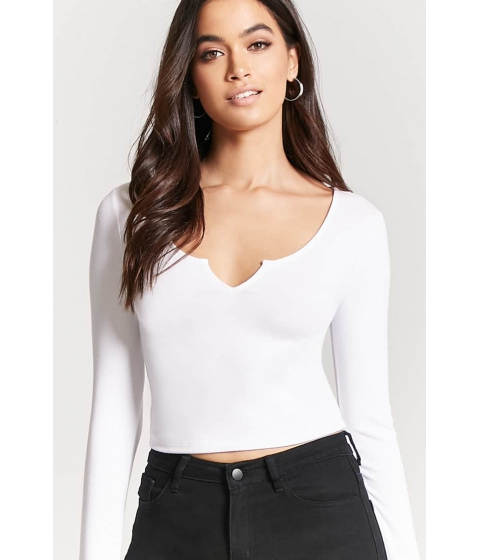 Imbracaminte Femei Forever21 Ribbed Knit Split-Neck Crop Top IVORY
