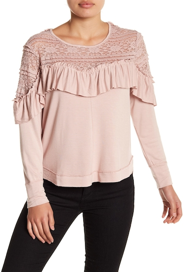 Imbracaminte Femei Melrose and Market Lace Yoke Ruffle Top Regular Petite PINK ADOBE