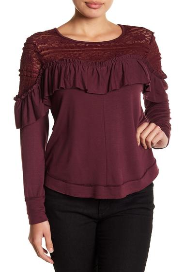Imbracaminte Femei Melrose and Market Lace Yoke Ruffle Top Regular Petite BURGUNDY STEM