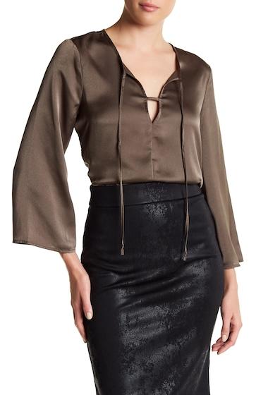Imbracaminte Femei BCBGeneration Satin Keyhole Bell Sleeve Blouse OLIVE