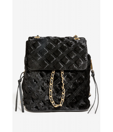 Genti Femei CheapChic Quilted Velvet Chain Mini Backpack Black
