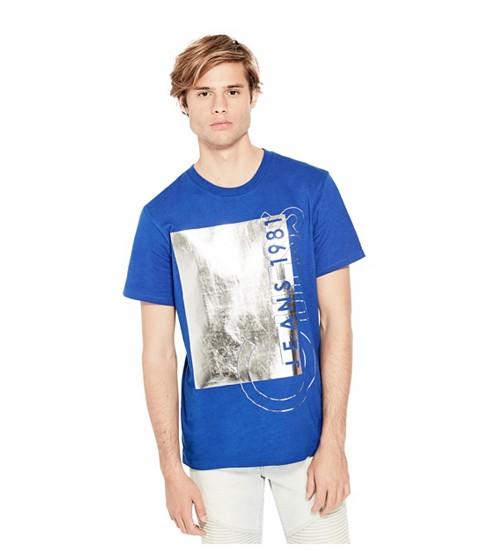 Imbracaminte Barbati GUESS Simon Metallic Logo Tee lapis blue