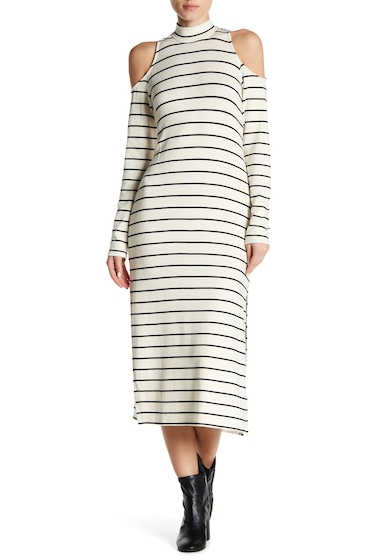 Imbracaminte Femei Splendid Striped Cold Shoulder Dress WHITE-BLK