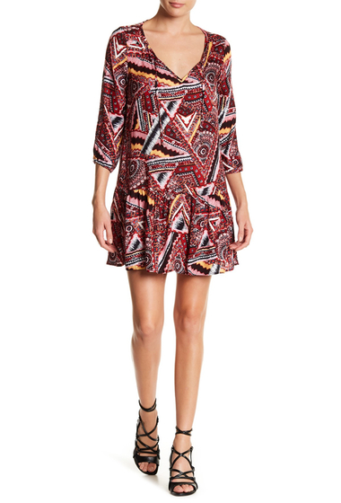 Imbracaminte Femei Jack by BB Dakota Multi-Color Geometric 34 Length Sleeve Dress TERRACOTA