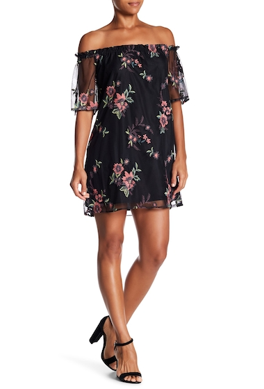 Imbracaminte Femei BB Dakota Floral Lace Off The Shoulder Mini Dress BLACK