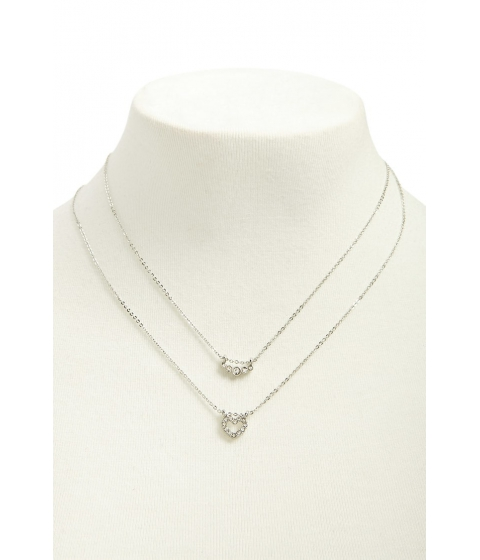 Bijuterii Femei Forever21 Heart Pendant Layered Necklace SILVERCLEAR