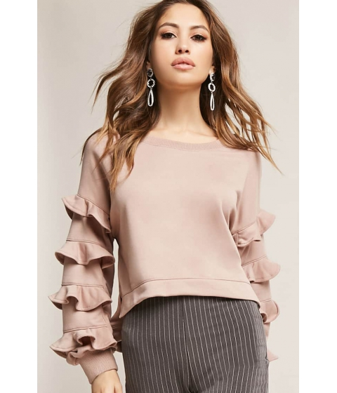 Imbracaminte Femei Forever21 Ruffled High-Low Pullover TAUPE